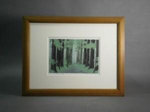 小暮真望の版画「杉並木」