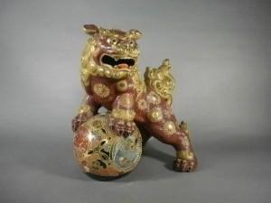 九谷焼獅子置物