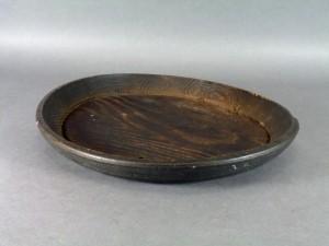 刳り抜き 木製 丸盆