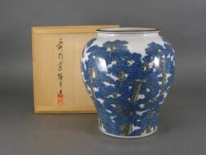 河本礫亭 松紋様花瓶