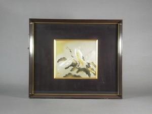 彫金額 鶴の図
