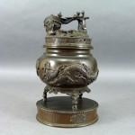 埼玉県 所沢市で古銅の香炉や銀製のデカンタなどをお譲り頂きました