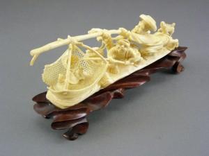 本象牙 細密彫刻 船置物