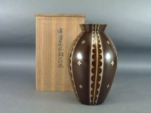 花模様 銅花瓶