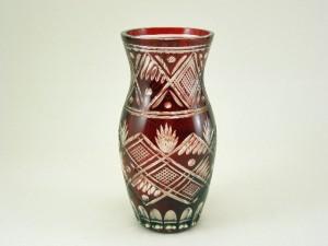 切子 赤ガラス 花瓶
