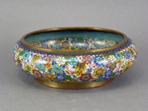 中国 七宝花模 円形水盤(香炉)