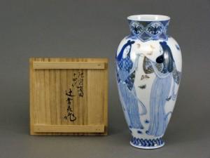 十四代 辻常陸 人物絵花瓶