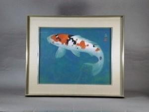 松浦満 日本画 鯉