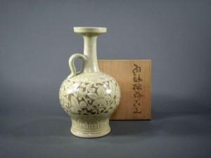 横山光ノ介 手付白釉花瓶