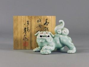 真葛(宮川)香山 青磁 獅子置物
