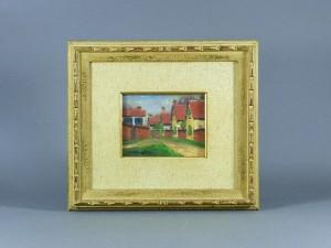小松益喜 油絵 赤い屋根の家
