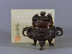 龍地紋石玉付銅製香炉