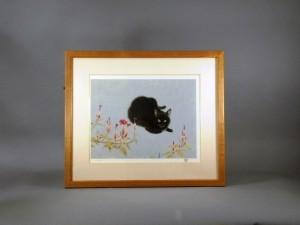 山口華陽 木版 花と猫