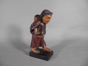 木彫 母子像