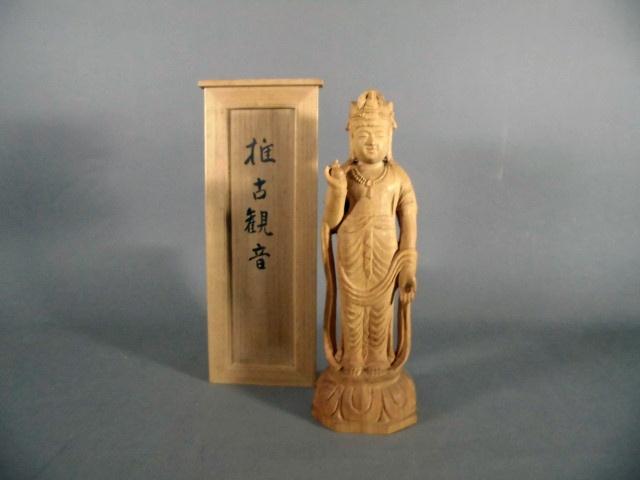 埼玉県 戸田市で木彫の観音像(仏像)をお譲り頂きました