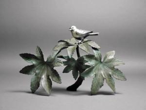銅製 花鳥置物