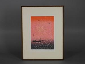 牧野宗則 木版画 夕焼けの海
