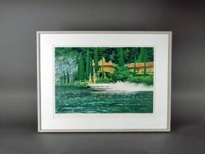 リトグラフ 湖畔のボート