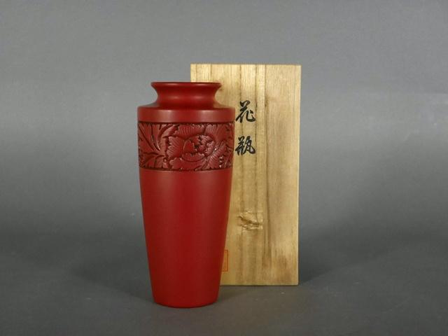 千葉県 松戸市で村上堆朱の花瓶(漆器)をお譲り頂きました